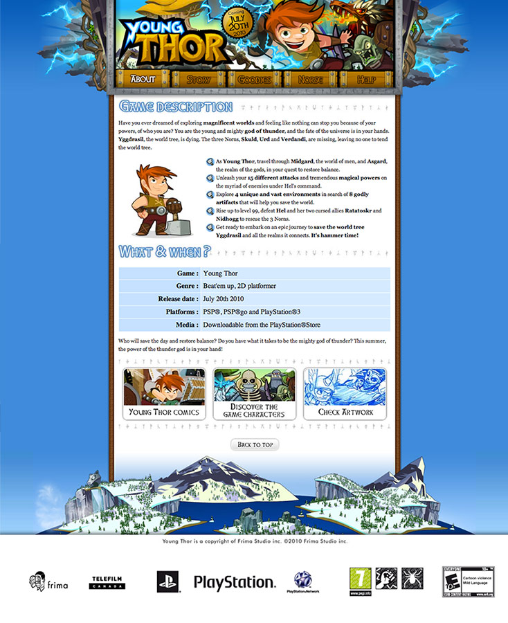 Design of the website for Young Thor on PSP while working for Frima Studio - July 2010